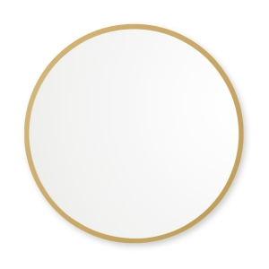 Matte gold rubber framed round mirror hanging on white wall
