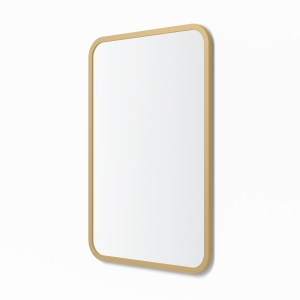 Angled view of matte gold rubber framed rectangle mirror