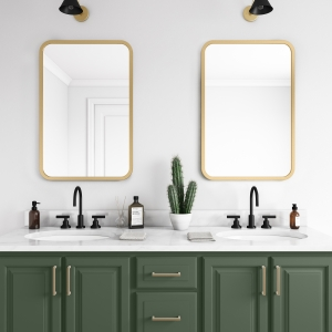 Matte gold rubber framed rectangle mirror hanging on bathroom wall above forest green vanity