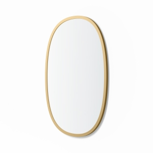 Angled view of matte gold rubber framed oval mirror