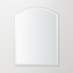 Frameless beveled arch-top mirror hanging on beige wall