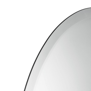 Close-up angle shot of frameless beveled oval copper-free mirror