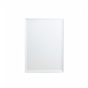 Frameless beveled rectangle mirror copper-free hanging on white wall