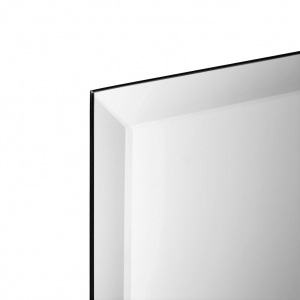 Close-up angle shot of frameless beveled rectangle copper-free mirror