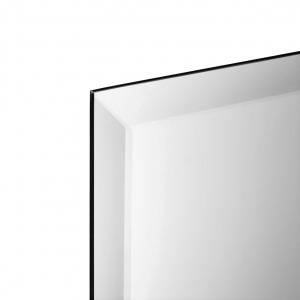 Close-up angle shot of frameless beveled rectangle mirror