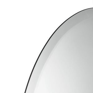 Close-up angle shot of beveled round mirror