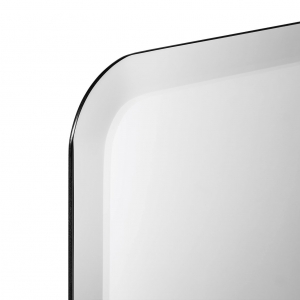 Close-up angle shot of frameless rounded rectangle mirror