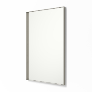 Angled view of nickel framed metal framed rectangle mirror