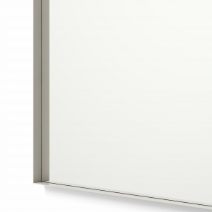 Close-up angle shot of nickel framed rectangle mirror
