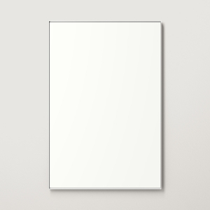 Silver metal framed rectangle mirror hanging on beige wall