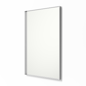 Angled view of silver framed metal framed rectangle mirror