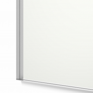 Close-up angle shot of silver framed rectangle mirror