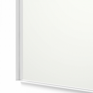 Close-up angle shot of white framed rectangle mirror