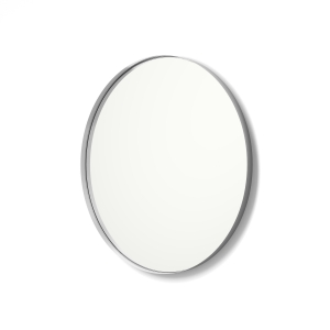 Angled view of silver framed metal framed round mirror