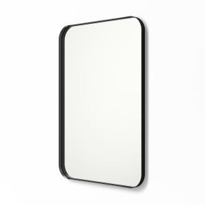 Angled view of black framed metal framed rounded rectangle mirror