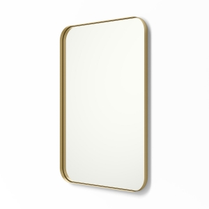 Angled view of gold framed metal framed rounded rectangle mirror