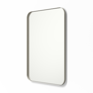 Angled view of nickel framed metal framed rounded rectangle mirror