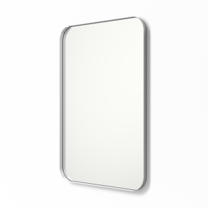 Angled view of silver framed metal framed rounded rectangle mirror