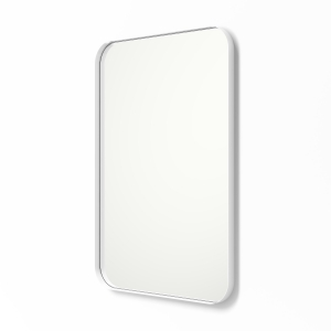 Angled view of white framed metal framed rounded rectangle mirror
