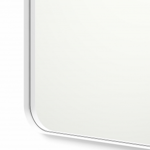 Close-up angle shot of white framed rounded rectangle mirror