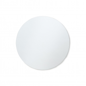 Polished edge round mirror hanging on white wall