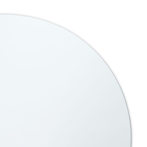 Close-up view of polished edge round mirror