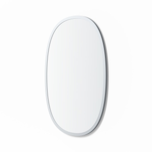 Angled view of grey rubber framed oval mirror
