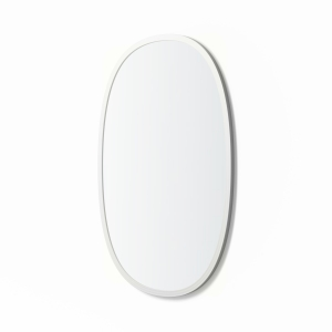 Angled view of white rubber framed oval mirror