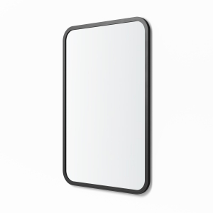 Angled view of black rubber framed rectangle mirror