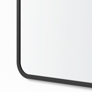 Close-up angle shot of black rubber rectangle mirror