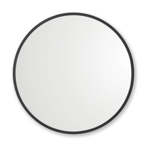 Black rubber framed round mirror hanging on white wall
