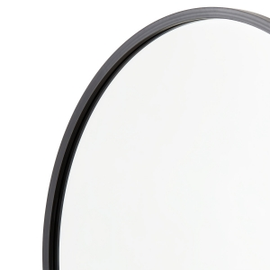 Close-up angle shot of black rubber round mirror