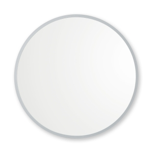 Grey rubber framed round mirror hanging on white wall