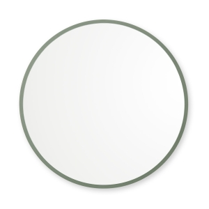 Sage green rubber framed round mirror hanging on white wall