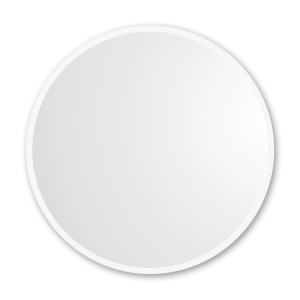 White rubber framed round mirror hanging on white wall