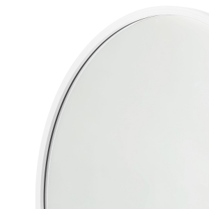 Close-up angle shot of white rubber round mirror