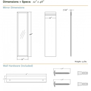 Dimensions/specs for size 12x48