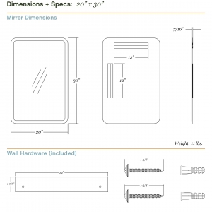 Dimensions/specs for size 20x30