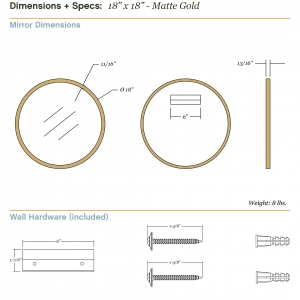 Dimensions/specs for size 18x18, matte gold