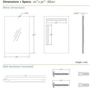 Dimensions/specs for size 20x30, silver