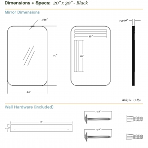 Dimensions/specs for size 20x30, black