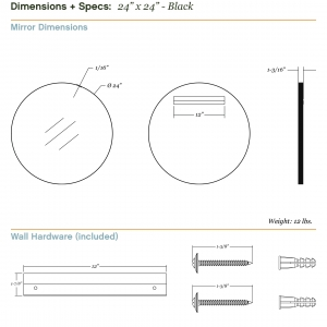 Dimensions/specs for size 24x24, black