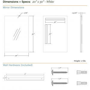 Dimensions/specs for size 20x30, white