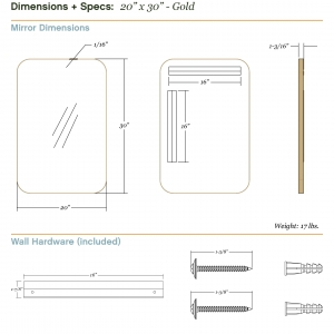 Dimensions/specs for size 20x30, gold