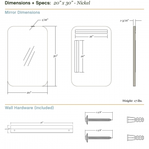 Dimensions/specs for size 20x30, nickel