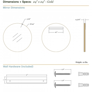 Dimensions/specs for size 24x24, gold